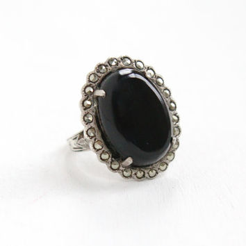 Vintage Art Deco Black Onyx & Marcasite Ring - Size 6 1/2 1930s Sterling Silver Statement Jewelry