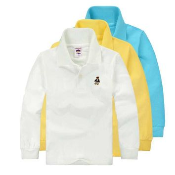 High Quality Unisex Boys Girls School Uniform Polo Shirt Kids Baby Toddler Long Sleev