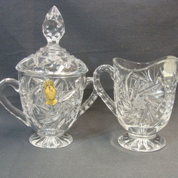 Imperlux Cut Lead Crystal Creamer Sugar Hobstars and Bars Hand Crafted