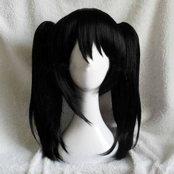 High Quality Anime LoveLive! Love Live Nico Yazawa Niko Cosplay Wig Ponytail Hair + 2 Bow Hairpins