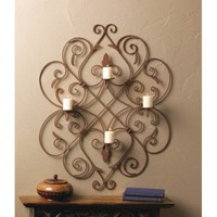 Four Candle Iron Fleur De Lis Wall Sconce Decor