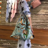 """Loewe"" Fashion Vintage Mermaid Pattern Print Drawstring Single Shoulder Bag"