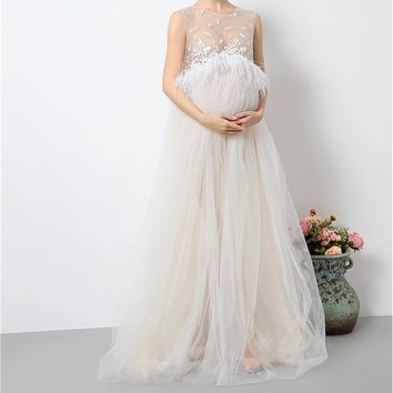 2018 Maternity Photography Props Pregnant Feathes Dress Maternity Clothes Long Pregnancy Photo Bunny Girl Dresses YL414