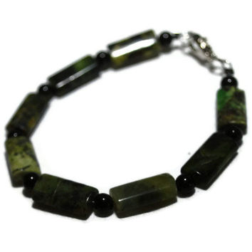 OOAK Green marbled and black beaded bracelet by chumaka on Etsy