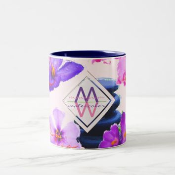 Watercolor Monogram Saffron and Orchid Flowers Zen Two-Tone Coffee Mug