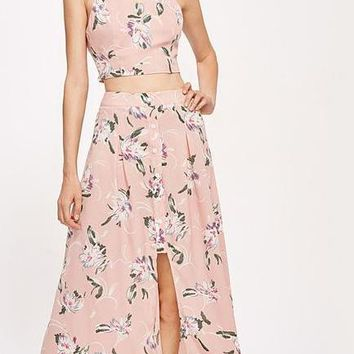 Flower Print Cute 2 Piece Set Women Pink Sexy Crop Top With Buttoned Slit Maxi Skirt Holiday Two Piece Set