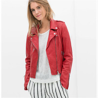 2 Color Bomber Motorcycle Leather Jacket