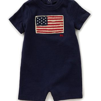 Ralph Lauren Childrenswear Baby Boys 3-24 Months Flag Cotton Jersey Shortall | Dillards