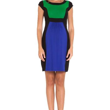 Olian Margarette Color Block Cap Sleeve Maternity Dress