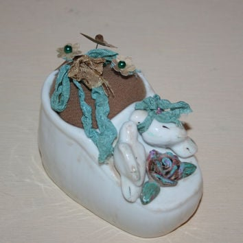 Upcycled Baby Shoe Pincushion Pin Keep Spring Decor Shabby Cottage Decor Pin Cushion Sewing Collectible Love Birds Mothers Day Gift Idea