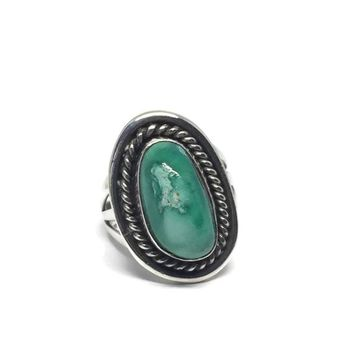 Vintage Southwest Turquoise Ring, Native American Navajo Sterling Silver Ring Size 6, Bohemian Jewelry, NA Jewelry, Vintage Jewelry