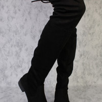 Flat High Thigh Black Boots