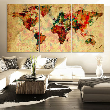 Cream Backgrounded Colorful Vintage World Map - Contemporary Triptych Ink Splash World Map Canvas Art
