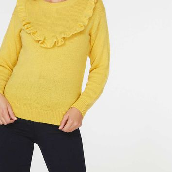 Yellow Ruffle Yoke Jumper | Dorothyperkins