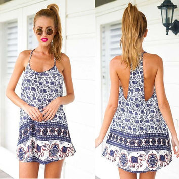 Sexy Women Summer Casual Elephant Print Cocktail Party Evening Beach Mini Dress = 5657629377