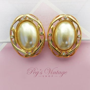 Large Faux Pearl Button Earrings/Clip On Gold tone Rhinestone Pearl Earrings