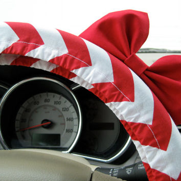 The Original Lipstick Red and White Chevron Steering Wheel Cover with Matching Bright Red Bow