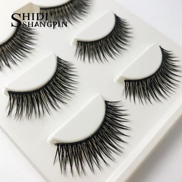 3 Pairs Cross Natural Long False Eyelashes Handmade  Fake eyelashes Winged Lashes Extension Makeup Beauty Tool Maquiagem #BL18