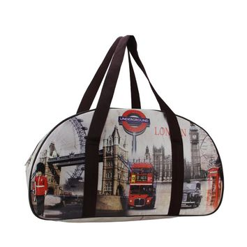 "20"" Decorative Vintage-Style London Highlights Travel Bag/Purse with Handles"