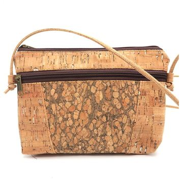Natural cork body cross wood gain cork Bags mid size Messenger bag original handmade Eco Bag-191
