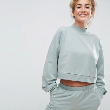 ASOS LOUNGE Cropped Sweat With High Neck at asos.com
