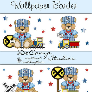 TEDDY BEAR TRAIN Conductor Wallpaper Border Wall Decals Baby Boy Nursery Childrens Bedroom Kids Transportation Theme Room Stickers Art Decor
