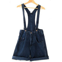 Vintage 80's Suspender Shorts. Denim Jumper. Bibs Overalls Shorts.