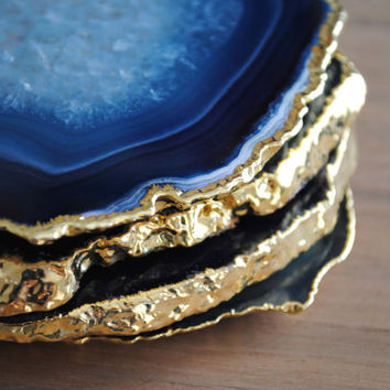 Set of 4 Gold Rimmed Agate Coasters - Gold Plated Coasters, Gold Rim
