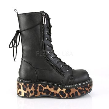 Emily 350 Goth Black Matte Ankle Boot Leopard Flat-form  6-12