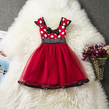Aini Babe Toddler Girl Pattern Dot Summer Dress Red Children's Costume For Kids Party Dresses Girls Clothes Fancy Minnie Outfit