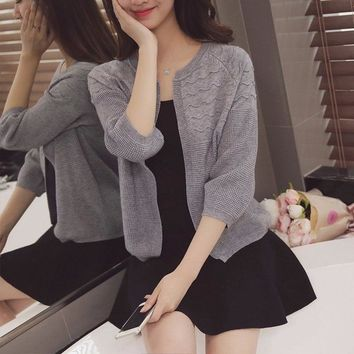 2018 Spring Autumn Short Cardigan Women Sweaters O Neck 3/4 Sleeve Solid Sueter Mujer Invierno Knitted Chandail Femme