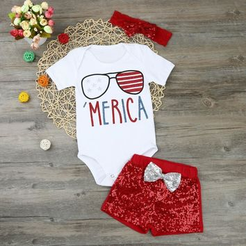 3PC Memorial Day or 4th of July Outfit 'Merica with Red Sequins and Matching Headband