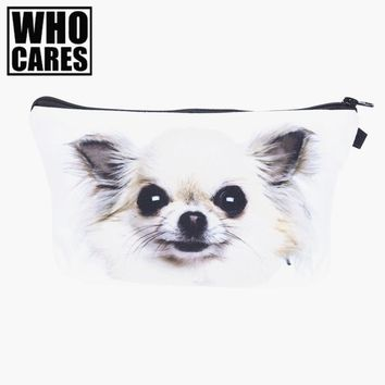 Chihuahua Dog 3D Printing Necessaire Women Cosmetics Bags Travel Make up Bag Organizer Maleta de Maquiagem vanity Makeup Bag