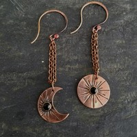 Sun & Moon Hammered Copper Earrings with Black Onyx
