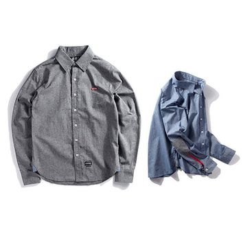Men's Fashion Autumn Cotton Linen Casual Zippers Design Long Sleeve Shirt [7929501635]