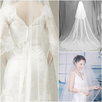 PEAPIX3 2014 White 2.7M Floor Longth Bridal Veils 1 Tier Layer Elegant Wedding Accessories Dress Bride Cathedral Chapel = 1929653572