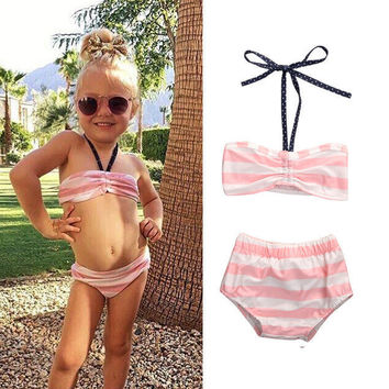 Baby Girl Tankini Cute Kids Pink striped bikini set 2017 Toddler Swimsuit Bikini Swimwear Swimming Costume Beachwear