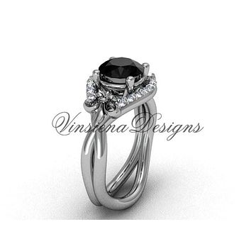 14kt white gold diamond Fleur de Lis wedding ring, engagement ring, Black Diamond VD10026