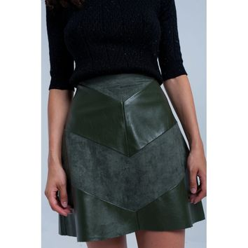Green Mini Leather Skirt