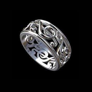 Drop shipping Treble Clef Ring Musical Note Wedding Band Symbol Eternity Unisex Music Lover Gift Anniversary Rings Jewelry