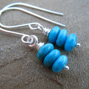 Turquoise Earrings, Sterling Silver, Teal Blue Stack Earrings
