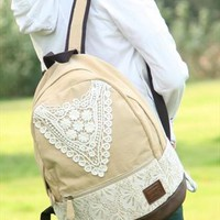 Fashion Baige Lace Backpack with Crochet