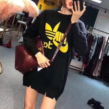 """Adidas x Nike"" Women Casual Fashion Letter Logo Print Long Sleeve Sweater Tops"