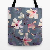Butterflies and Hibiscus Flowers - a painted pattern Tote Bag by Micklyn