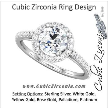 Cubic Zirconia Engagement Ring- The Teresa Ava (0.5-2.5 Carat Round Halo-Style with Pave Band)