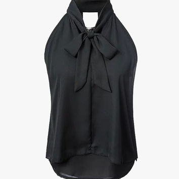 Black Neck Bow Tie Sleeveless Blouse