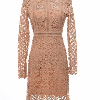 Nude Stand Collar Cut Out Long Sleeve Overlay Lace Dress