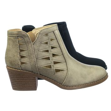 Chance2 Children Girl Biker Stack Heel Ankle Booties V-Cut Perforated Cutout