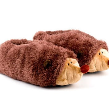Fuzzy Hedgehog Slippers | Fuzzy Friends Animal Slippers | BunnySlippers.com