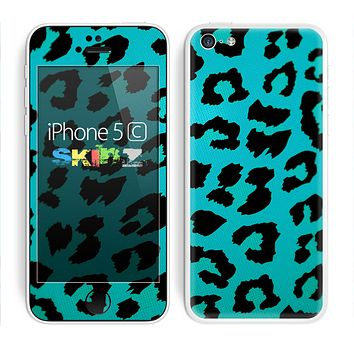 The Hot Teal Vector Leopard Print Skin for the Apple iPhone 5c